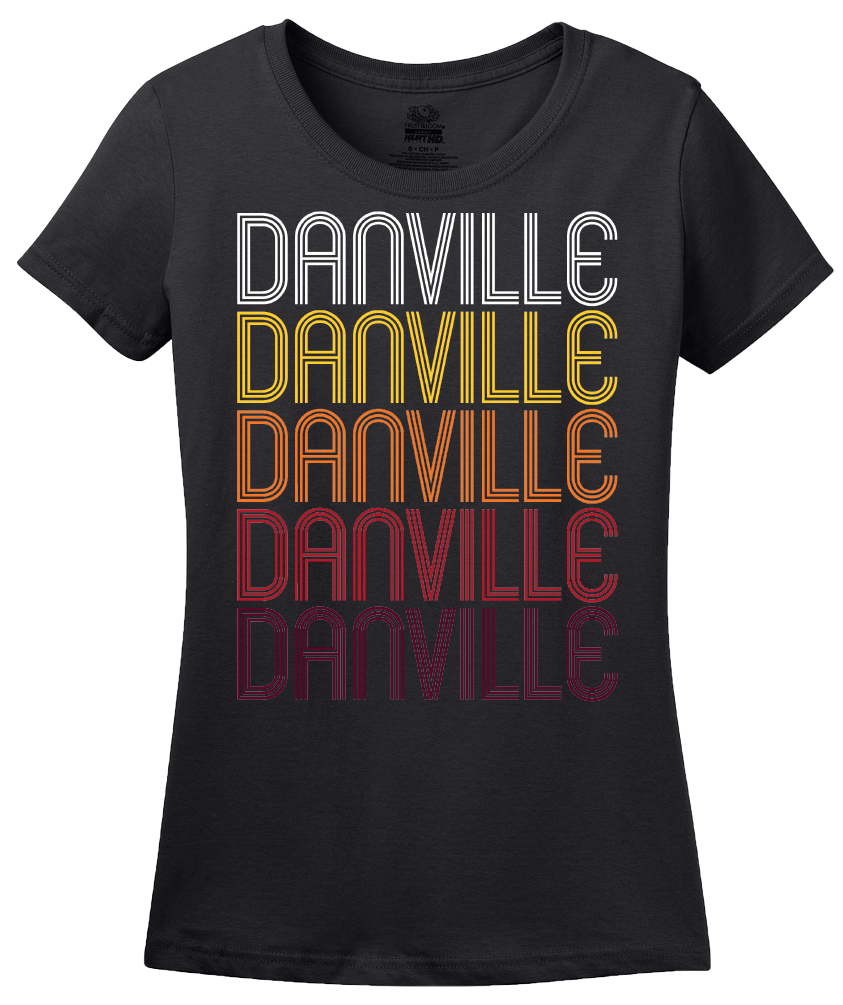 Ladies Black Danville, IN | Retro, Vintage Style Indiana Pride  T-shirt
