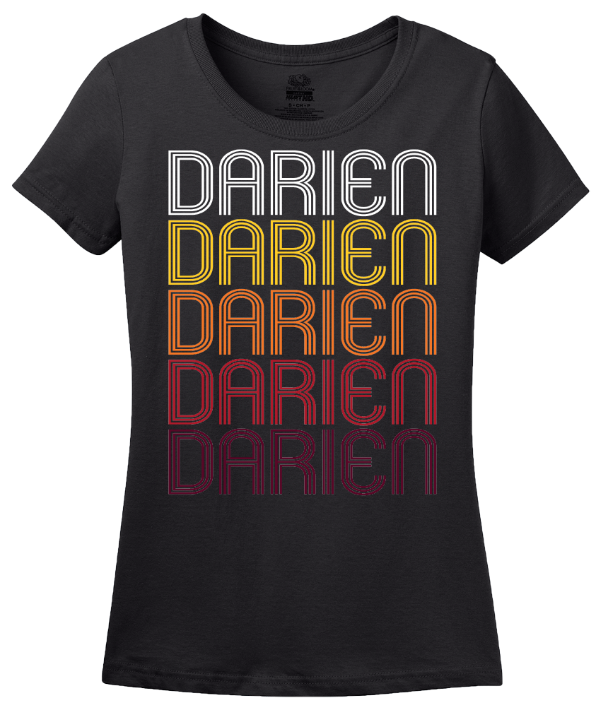 Ladies Black Darien, GA | Retro, Vintage Style Georgia Pride  T-shirt
