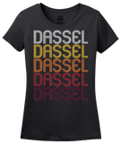 Ladies Black Dassel, MN | Retro, Vintage Style Minnesota Pride  T-shirt