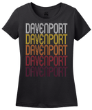 Ladies Black Davenport, IA | Retro, Vintage Style Iowa Pride  T-shirt