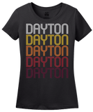 Ladies Black Dayton, OH | Retro, Vintage Style Ohio Pride  T-shirt