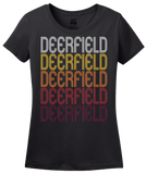 Ladies Black Deerfield, IL | Retro, Vintage Style Illinois Pride  T-shirt