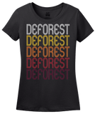 Ladies Black DeForest, WI | Retro, Vintage Style Wisconsin Pride  T-shirt