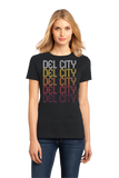 Ladies Black Del City, OK | Retro, Vintage Style Oklahoma Pride  T-shirt