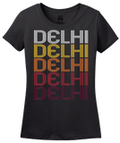 Ladies Black Delhi, LA | Retro, Vintage Style Louisiana Pride  T-shirt
