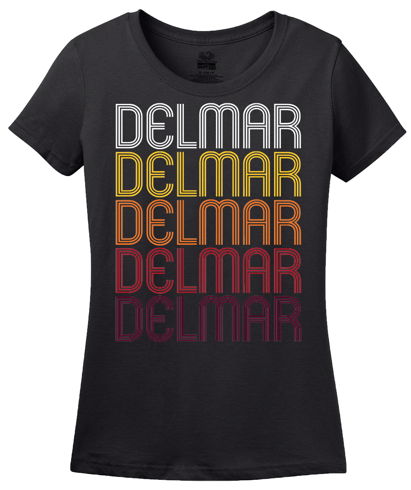 Ladies Black Delmar, MD | Retro, Vintage Style Maryland Pride  T-shirt