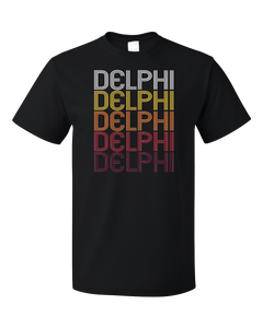 Standard Black Delphi, IN | Retro, Vintage Style Indiana Pride  T-shirt