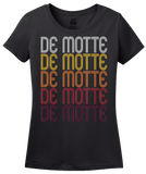 Ladies Black De Motte, IN | Retro, Vintage Style Indiana Pride  T-shirt