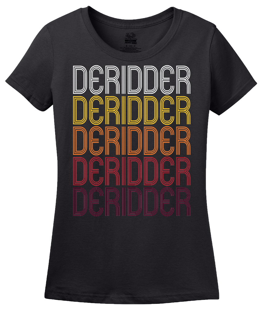 Ladies Black DeRidder, LA | Retro, Vintage Style Louisiana Pride  T-shirt