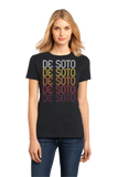 Ladies Black De Soto, IA | Retro, Vintage Style Iowa Pride  T-shirt