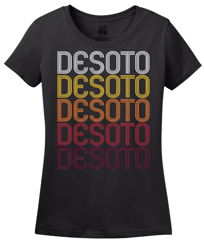 Ladies Black DeSoto, TX | Retro, Vintage Style Texas Pride  T-shirt