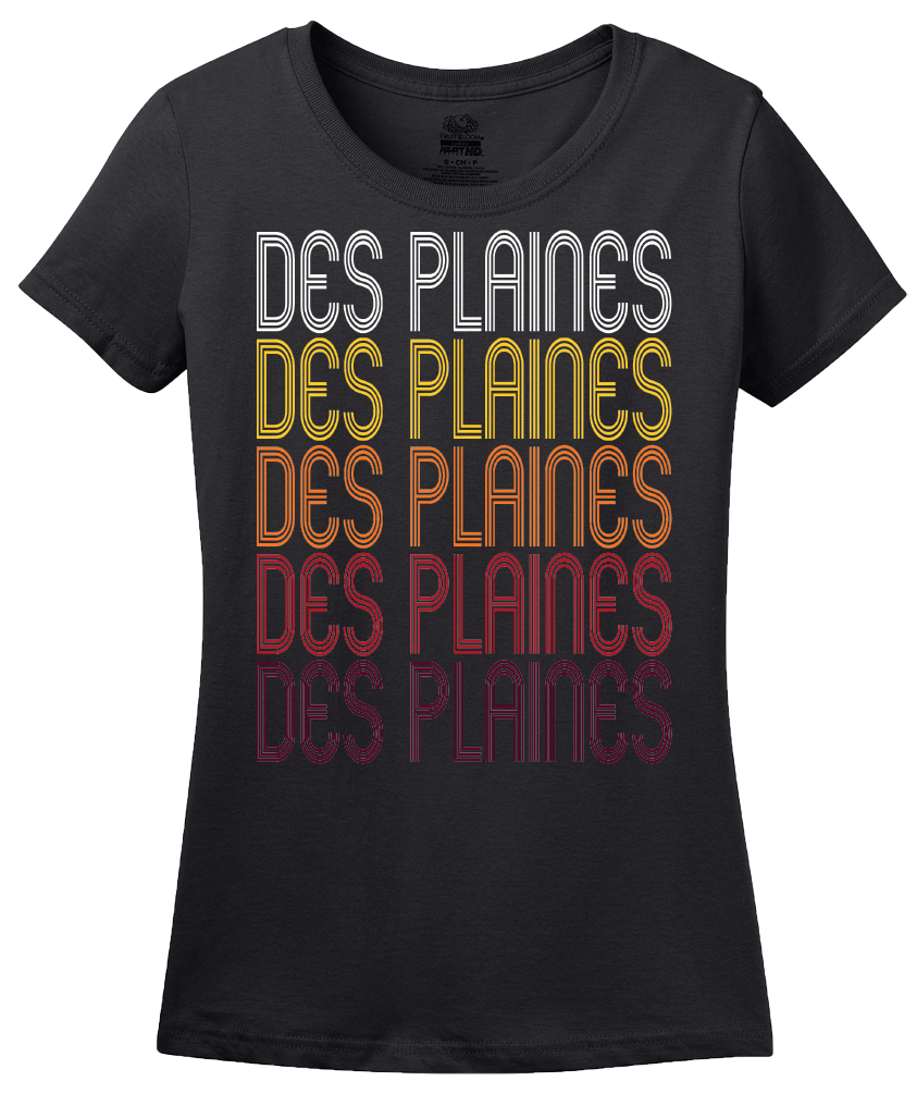 Ladies Black Des Plaines, IL | Retro, Vintage Style Illinois Pride  T-shirt