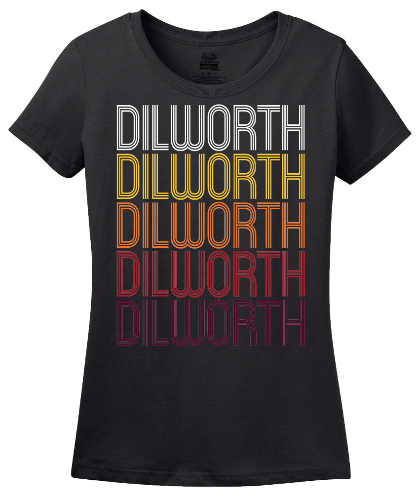 Ladies Black Dilworth, MN | Retro, Vintage Style Minnesota Pride  T-shirt