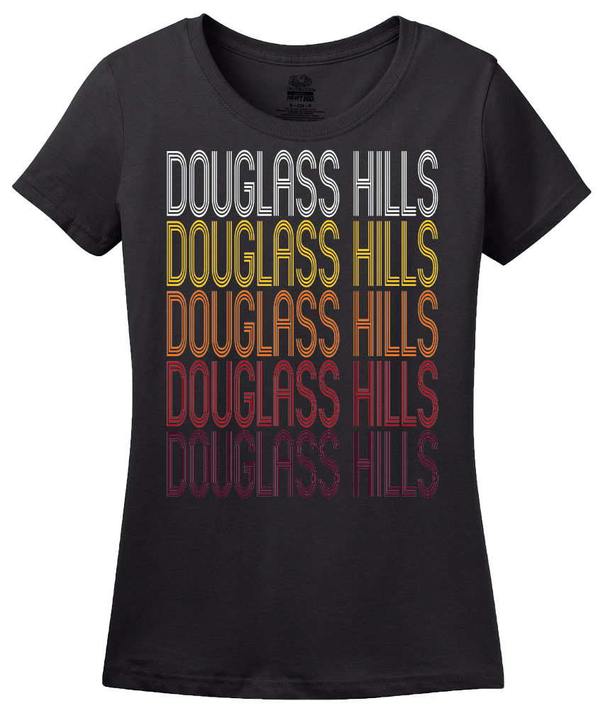 Ladies Black Douglass Hills, KY | Retro, Vintage Style Kentucky Pride  T-shirt