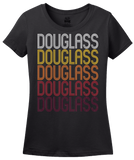Ladies Black Douglass, KS | Retro, Vintage Style Kansas Pride  T-shirt