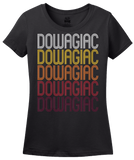 Ladies Black Dowagiac, MI | Retro, Vintage Style Michigan Pride  T-shirt