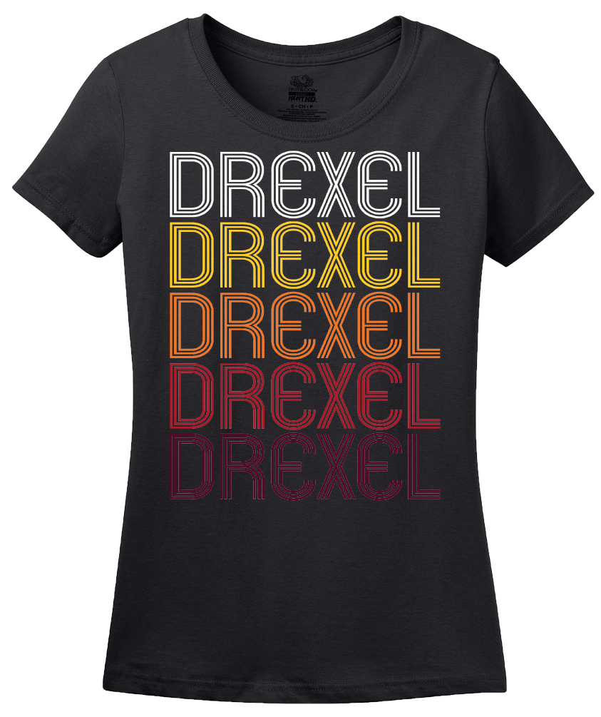 Ladies Black Drexel, MO | Retro, Vintage Style Missouri Pride  T-shirt