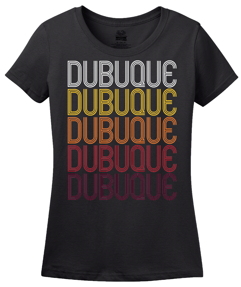 Ladies Black Dubuque, IA | Retro, Vintage Style Iowa Pride  T-shirt