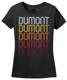 Ladies Black Dumont, NJ | Retro, Vintage Style New Jersey Pride  T-shirt