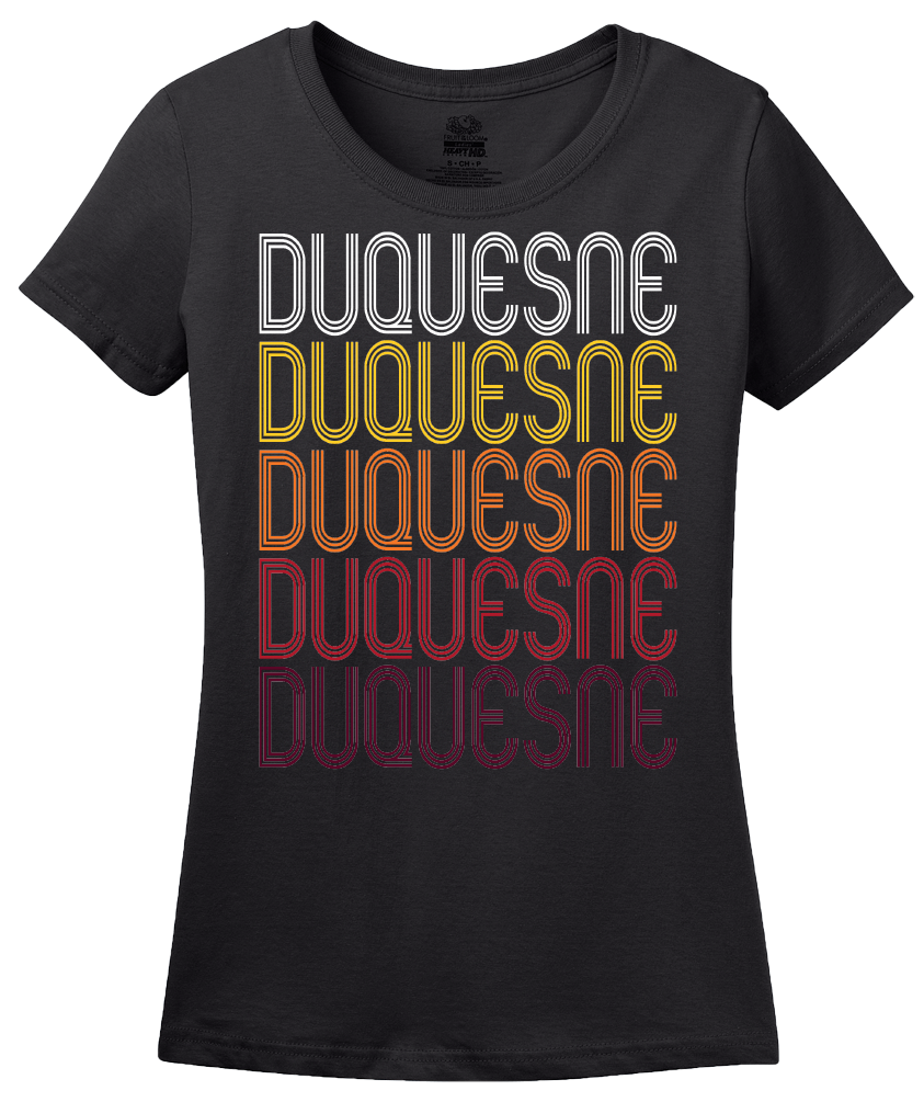 Ladies Black Duquesne, MO | Retro, Vintage Style Missouri Pride  T-shirt