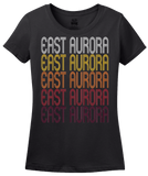 Ladies Black East Aurora, NY | Retro, Vintage Style New York Pride  T-shirt