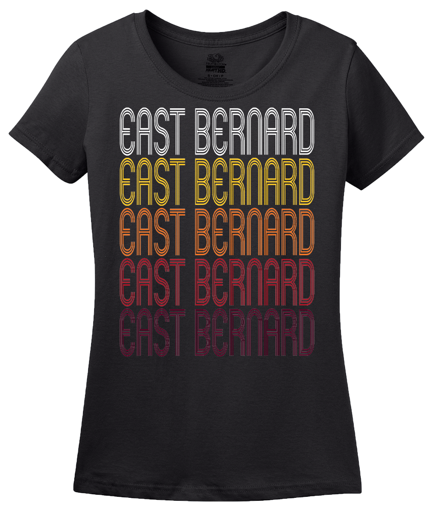 Ladies Black East Bernard, TX | Retro, Vintage Style Texas Pride  T-shirt