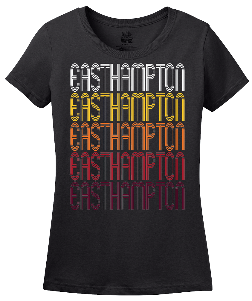 Ladies Black Easthampton, MA | Retro, Vintage Style Massachusetts Pride  T-shirt
