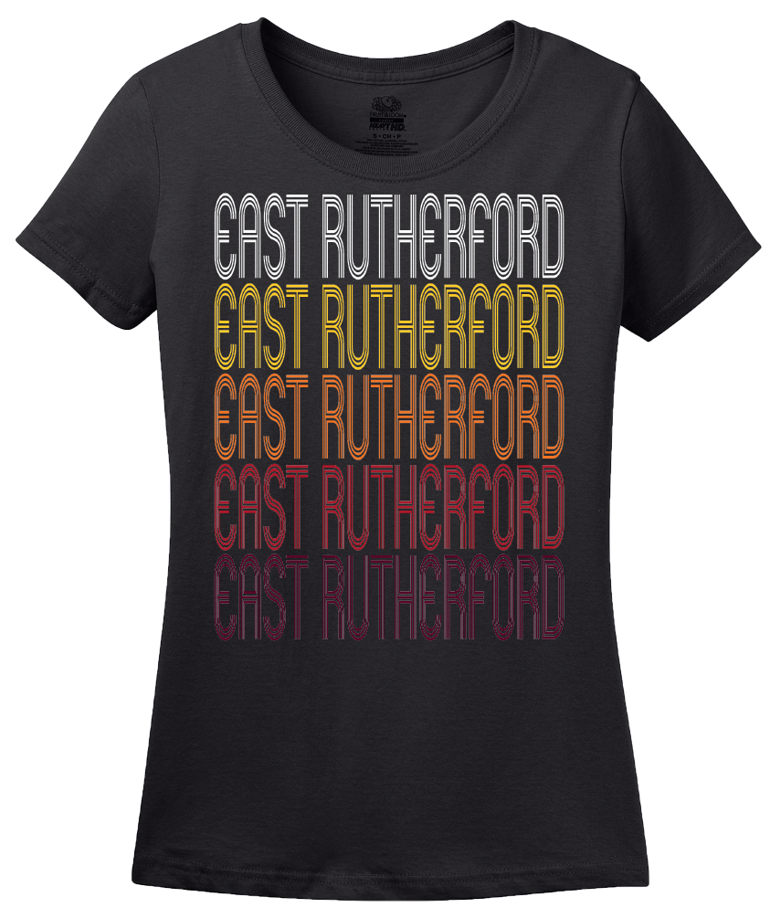 Ladies Black East Rutherford, NJ | Retro, Vintage Style New Jersey Pride  T-shirt