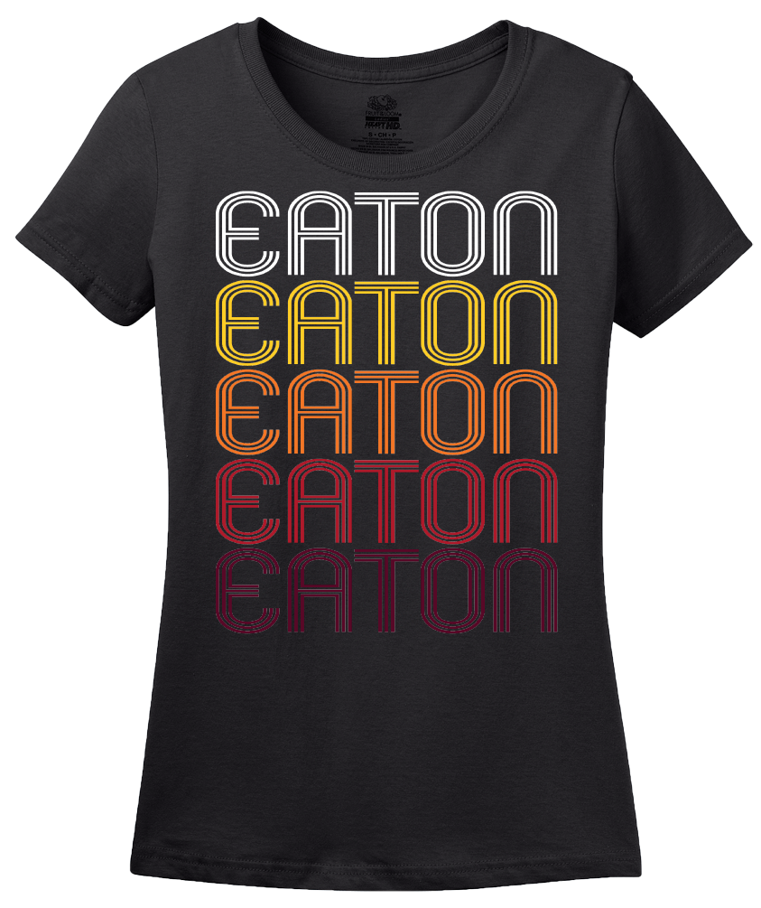 Ladies Black Eaton, OH | Retro, Vintage Style Ohio Pride  T-shirt