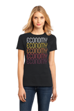 Ladies Black Economy, PA | Retro, Vintage Style Pennsylvania Pride  T-shirt