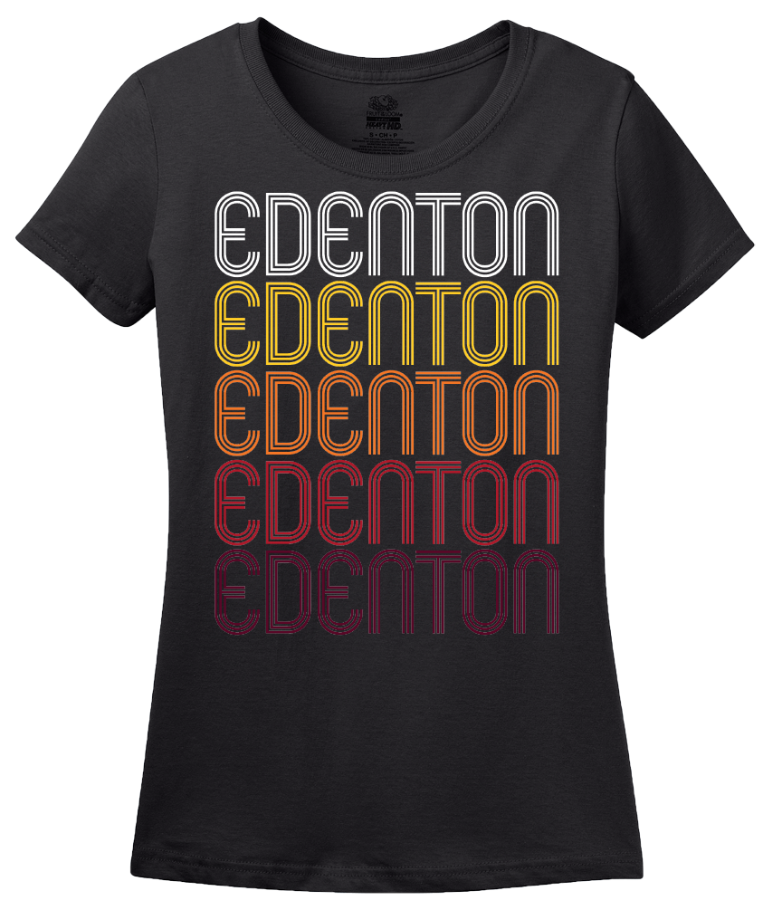 Ladies Black Edenton, NC | Retro, Vintage Style North Carolina Pride  T-shirt