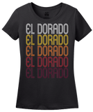 Ladies Black El Dorado, AR | Retro, Vintage Style Arkansas Pride  T-shirt