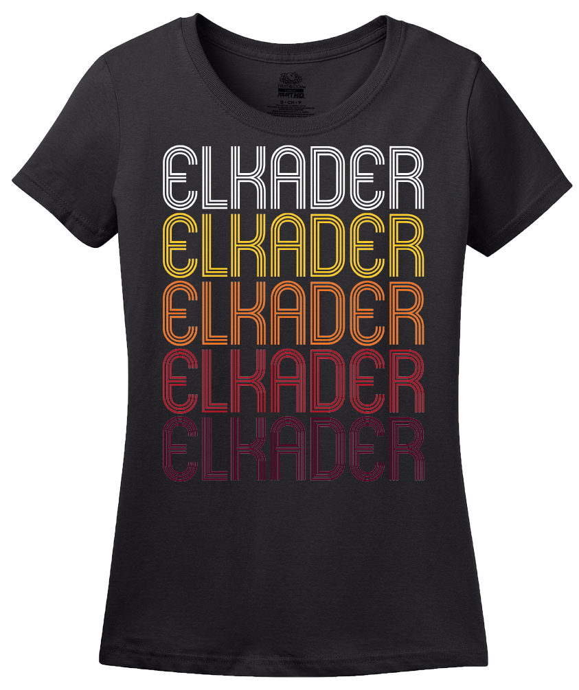 Ladies Black Elkader, IA | Retro, Vintage Style Iowa Pride  T-shirt