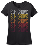 Ladies Black Elk Grove, IL | Retro, Vintage Style Illinois Pride  T-shirt