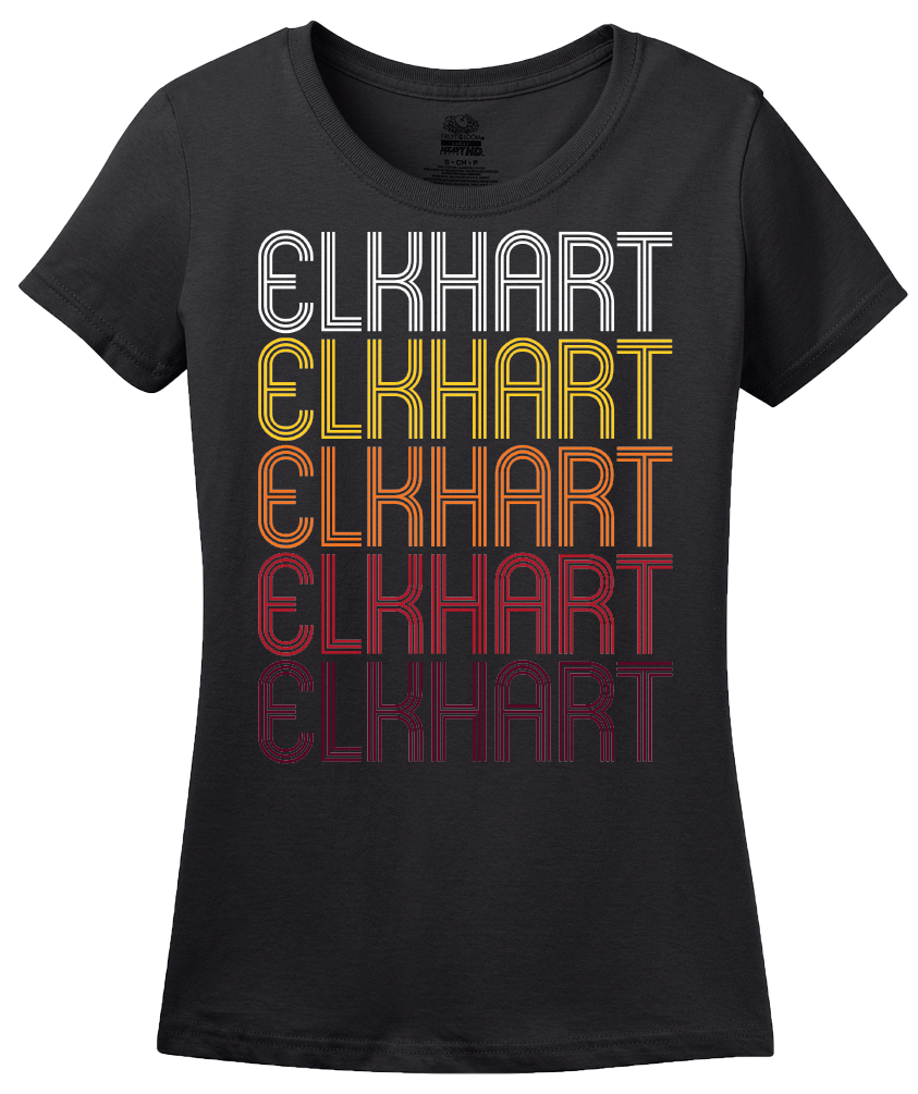Ladies Black Elkhart, IN | Retro, Vintage Style Indiana Pride  T-shirt