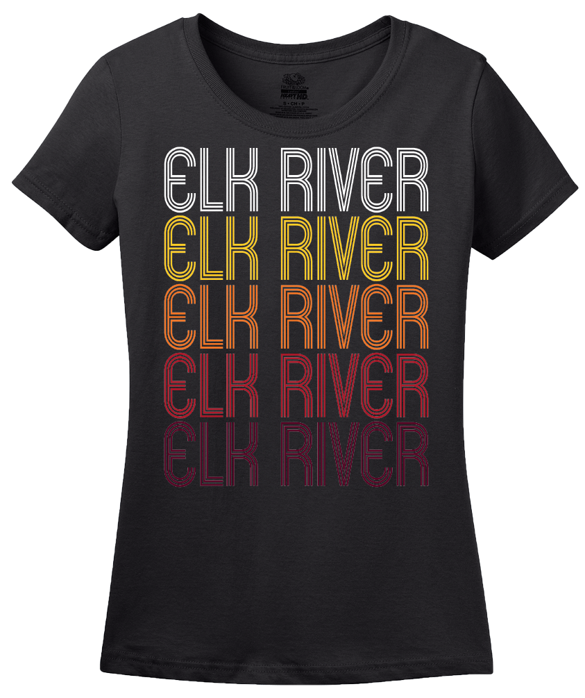 Ladies Black Elk River, MN | Retro, Vintage Style Minnesota Pride  T-shirt