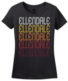 Ladies Black Ellendale, ND | Retro, Vintage Style North Dakota Pride  T-shirt