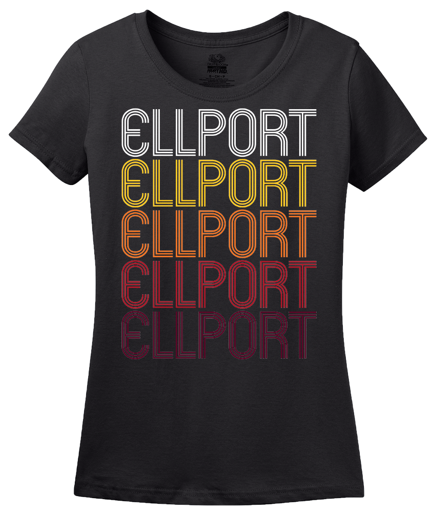 Ladies Black Ellport, PA | Retro, Vintage Style Pennsylvania Pride  T-shirt