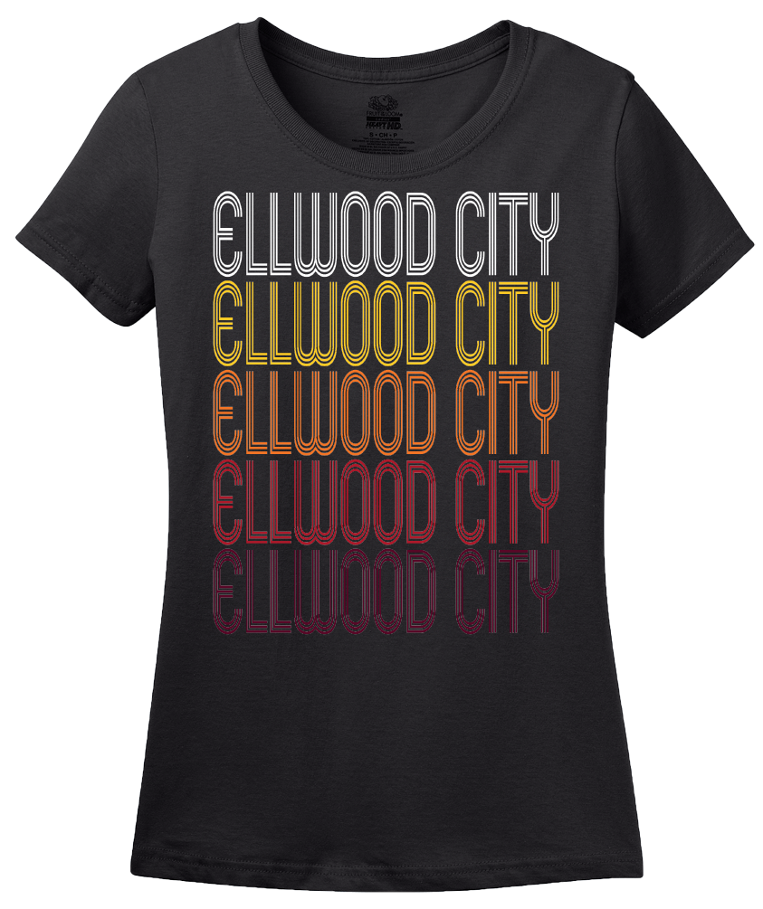 Ladies Black Ellwood City, PA | Retro, Vintage Style Pennsylvania Pride  T-shirt