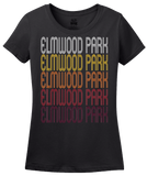 Ladies Black Elmwood Park, IL | Retro, Vintage Style Illinois Pride  T-shirt