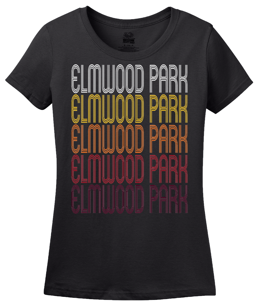 Ladies Black Elmwood Park, NJ | Retro, Vintage Style New Jersey Pride  T-shirt