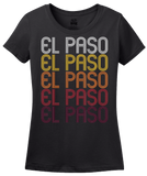 Ladies Black El Paso, TX | Retro, Vintage Style Texas Pride  T-shirt