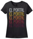 Ladies Black El Portal, FL | Retro, Vintage Style Florida Pride  T-shirt