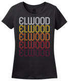 Ladies Black Elwood, IL | Retro, Vintage Style Illinois Pride  T-shirt