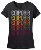 Ladies Black Emporia, KS | Retro, Vintage Style Kansas Pride  T-shirt