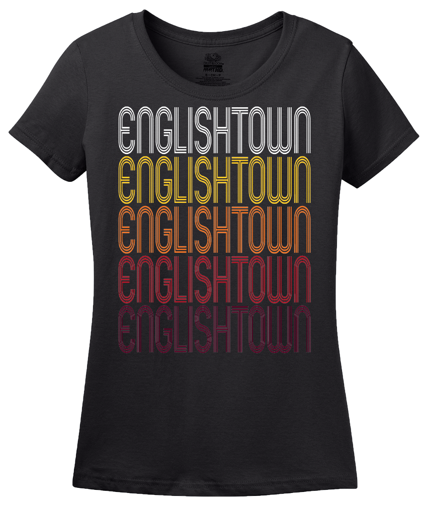 Ladies Black Englishtown, NJ | Retro, Vintage Style New Jersey Pride  T-shirt