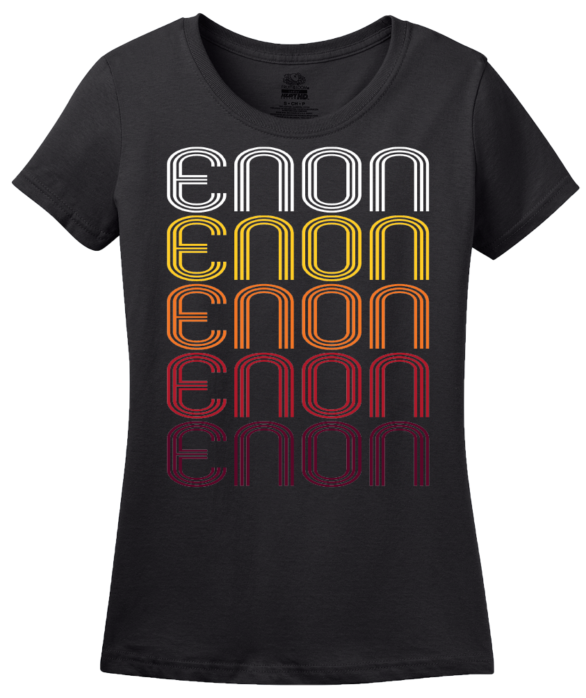 Ladies Black Enon, OH | Retro, Vintage Style Ohio Pride  T-shirt