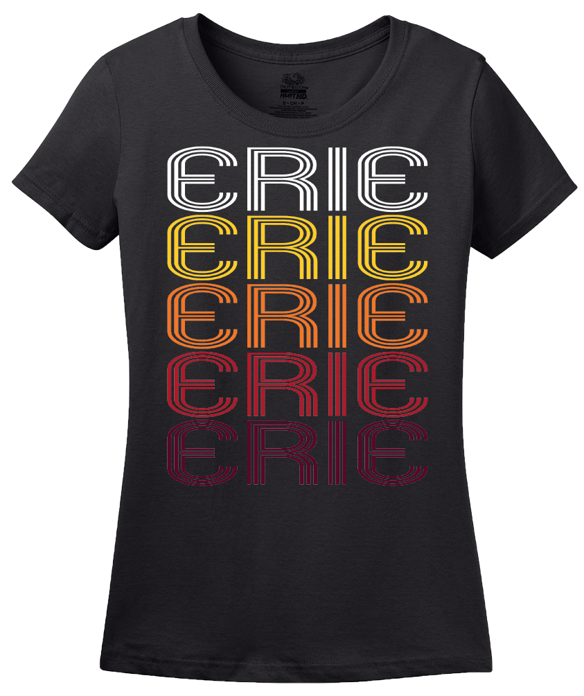 Ladies Black Erie, IL | Retro, Vintage Style Illinois Pride  T-shirt