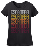 Ladies Black Escanaba, MI | Retro, Vintage Style Michigan Pride  T-shirt