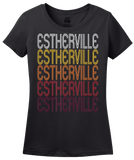 Ladies Black Estherville, IA | Retro, Vintage Style Iowa Pride  T-shirt